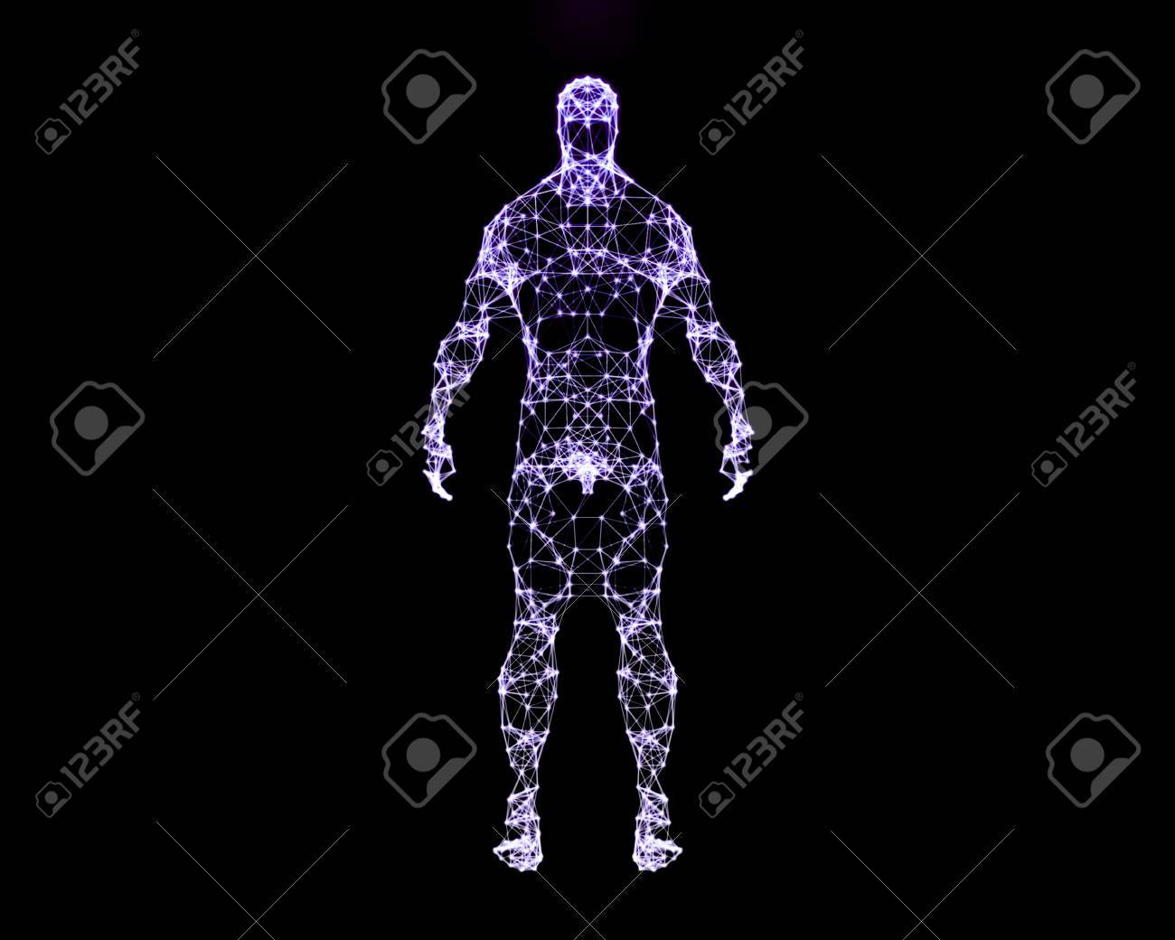Abstract Digital Illustration Of Human Body Back View Stock Photo