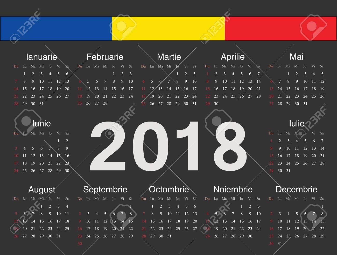 Calendario Rumeno.Vector Nero Calendario Rumeno Cerchio 2018 Settimana Inizia Da Domenica