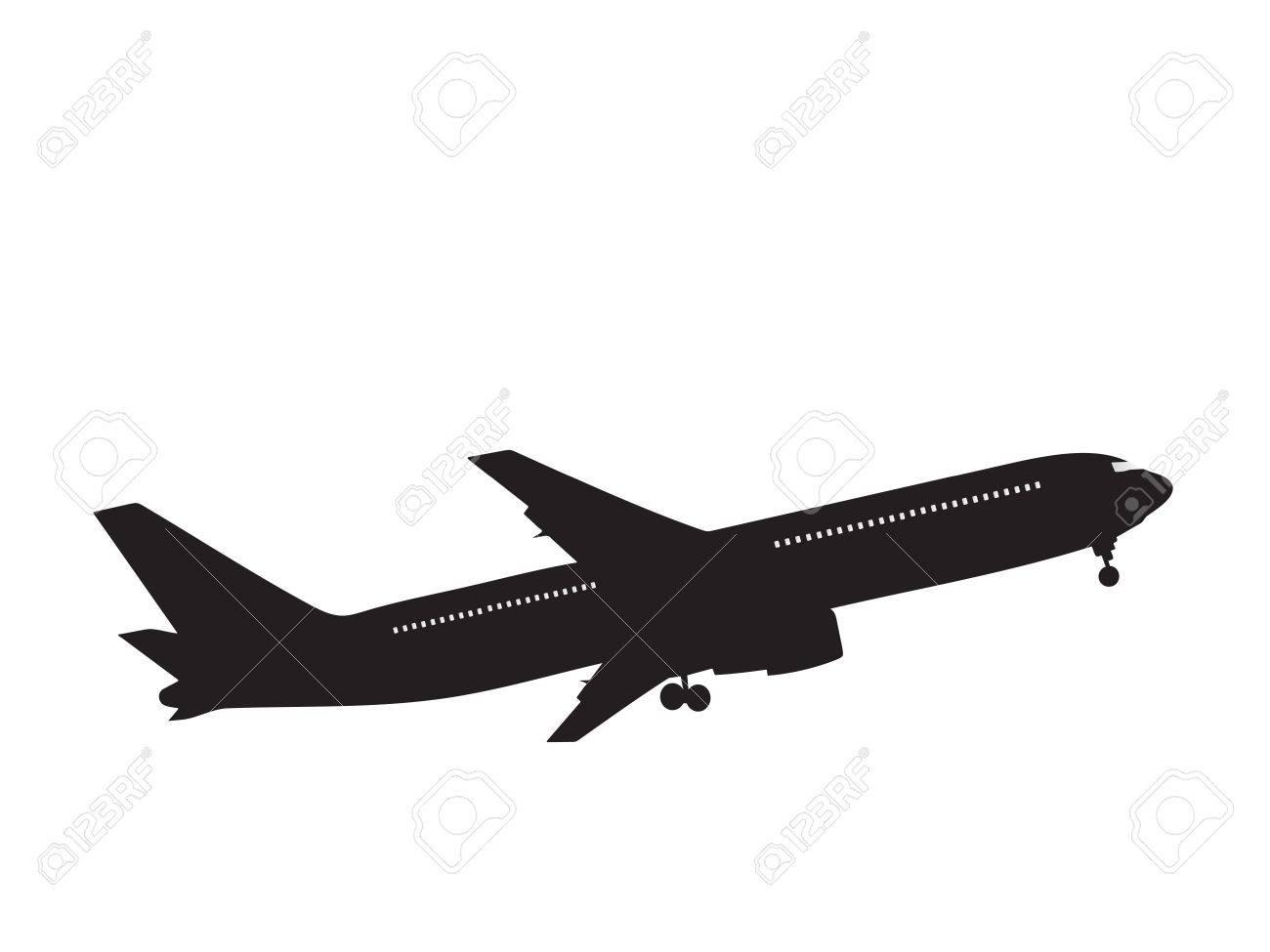 silhouette passenger airplane Stock Photo - 2073585