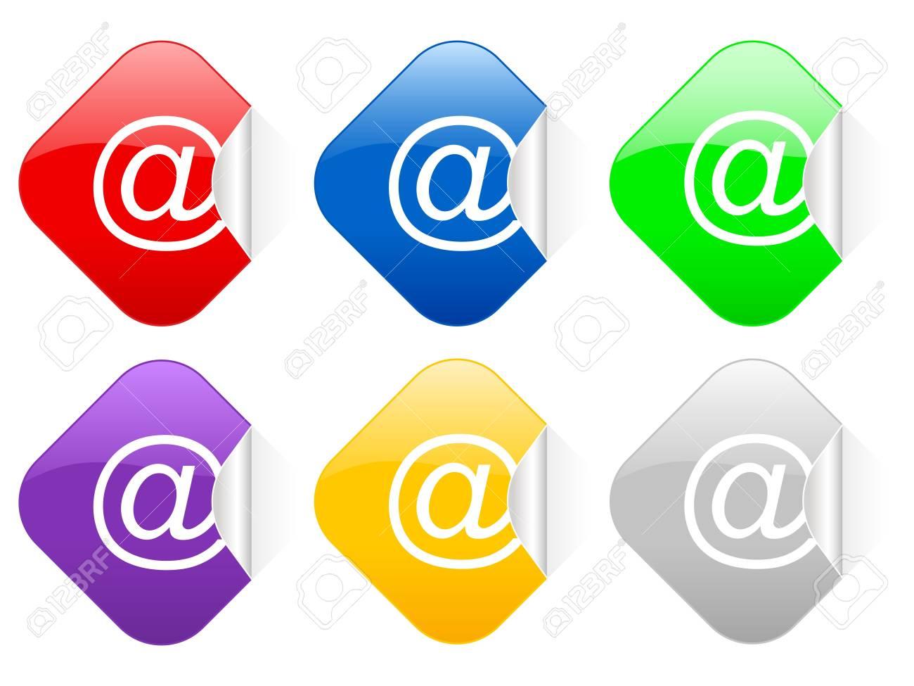 Color e-mail square stickers Stock Photo - 3261054