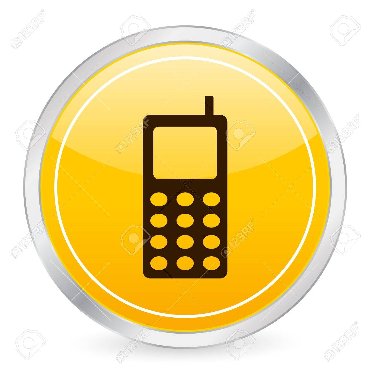 Mobile phone yellow circle icon