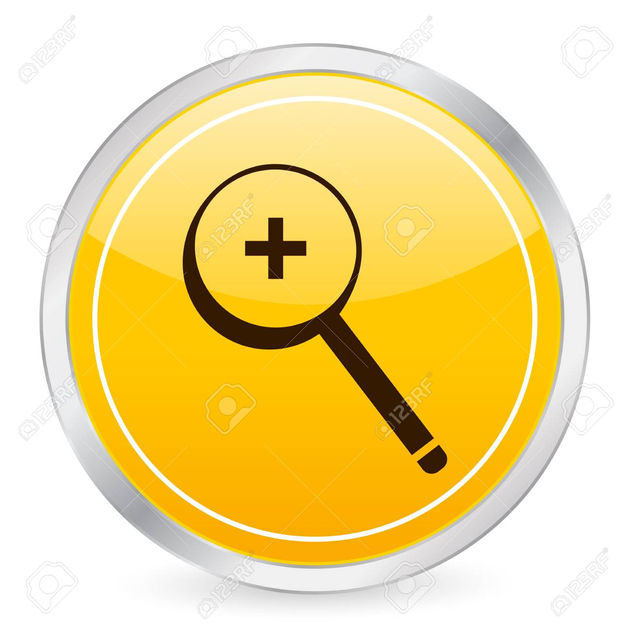 Zoom in yellow circle icon Stock Photo - 3606312