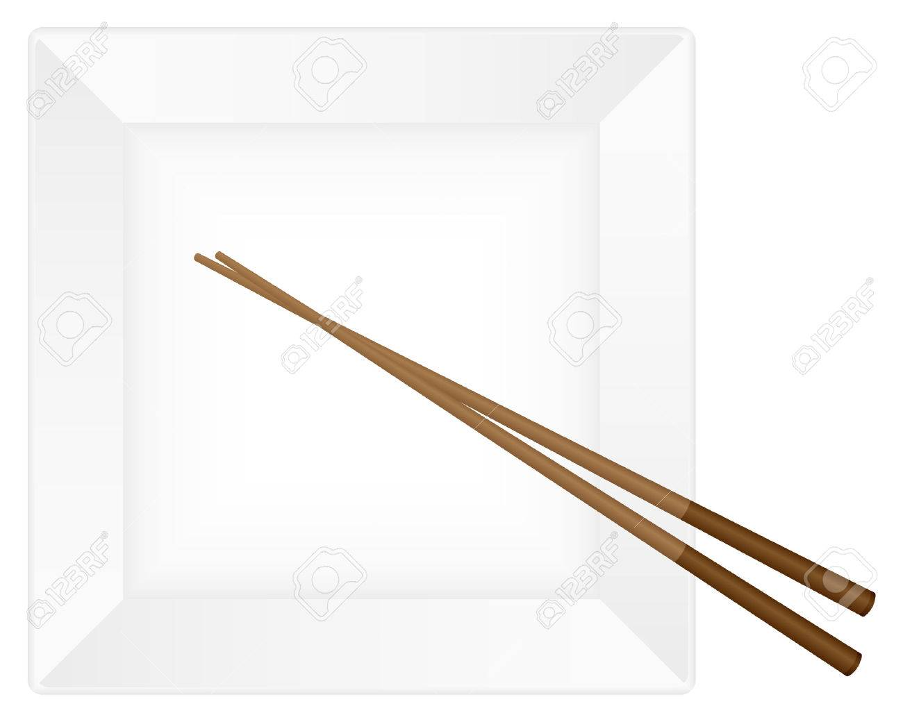 Empty white plate with chopsticks. Vector illustration. Stock Vector - 8148546