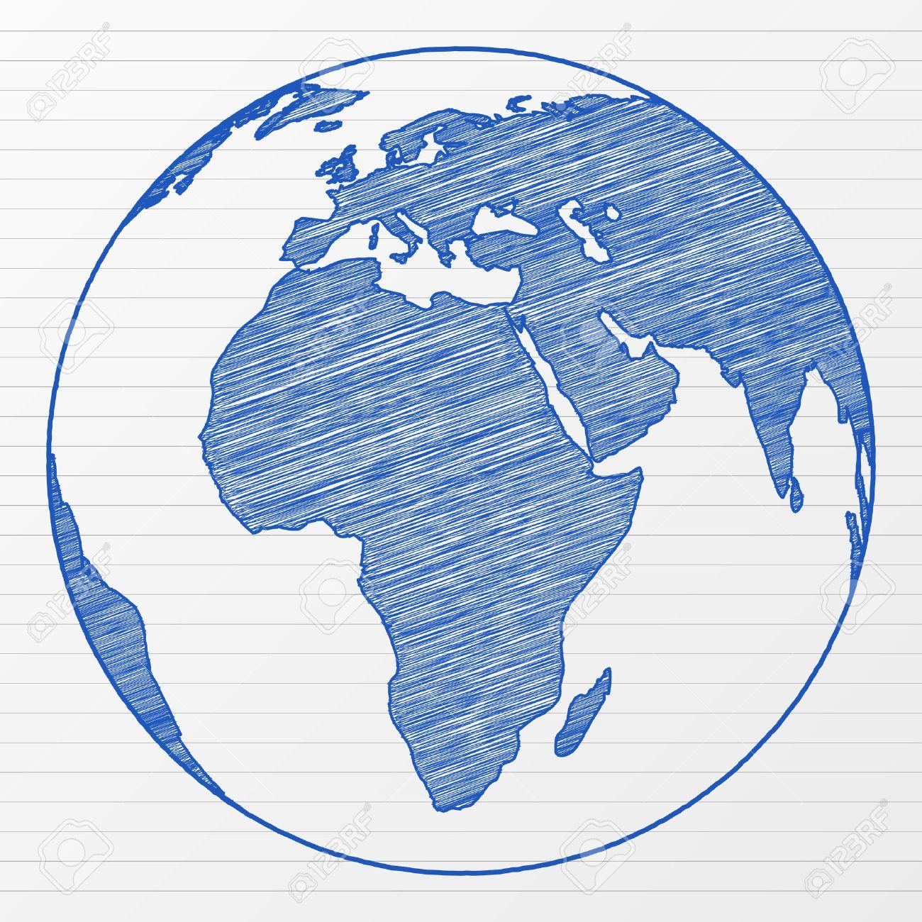 Globo De Mundo De Dibujo En Una Hoja De Bloc De Notas Ilustración