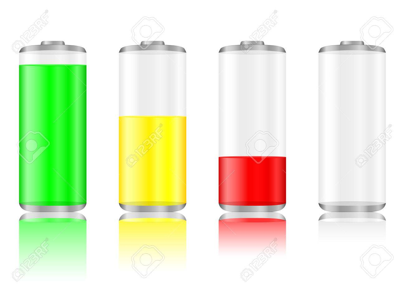Battery with the level of charge and reflection. Vector illustration. Stock Vector - 8230129