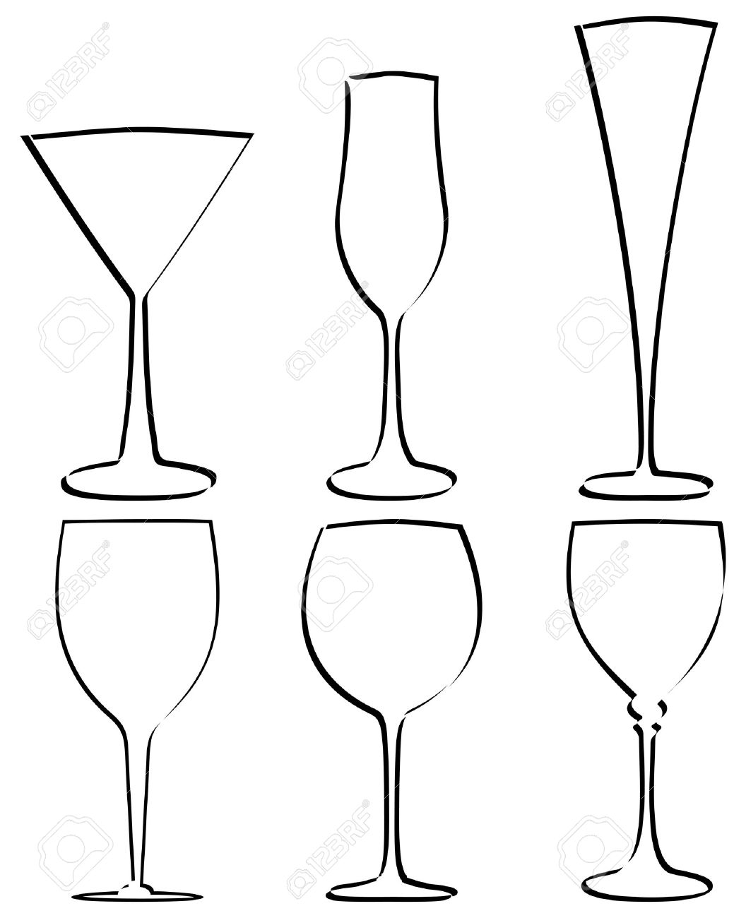 Isolated stem glass outline on a white background. Vector illustration. Stock Vector - 8381658