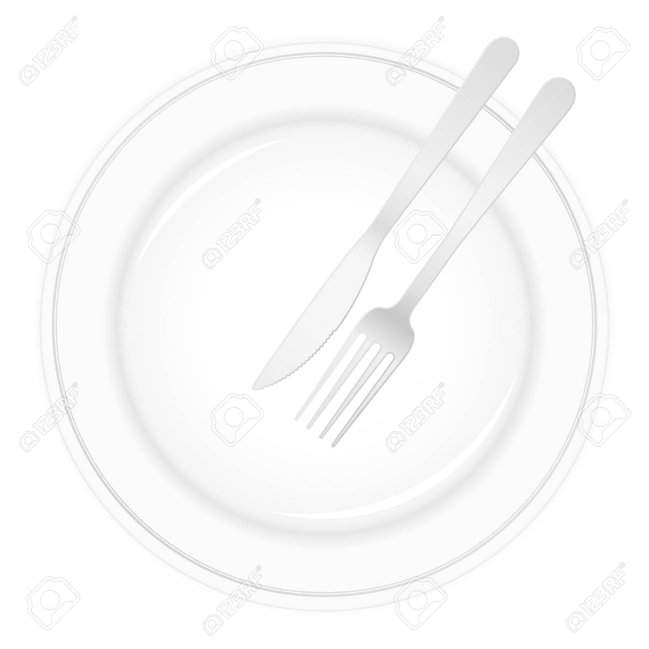 Empty white plate with knife and fork. Stock Vector - 8598934