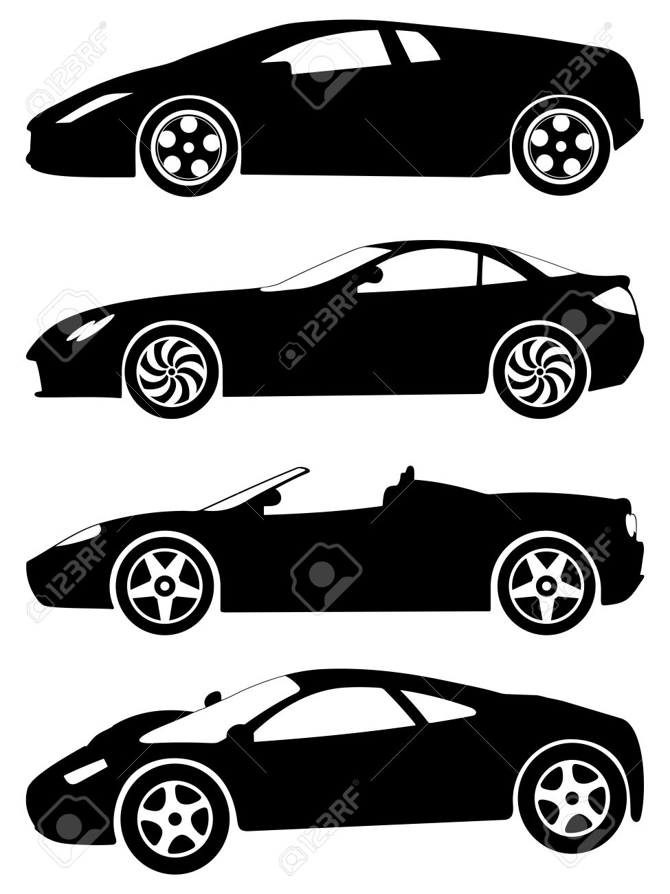Silhouette A Sport Cars On A White Background. Vector Illustration. Stock  Vector   8784635