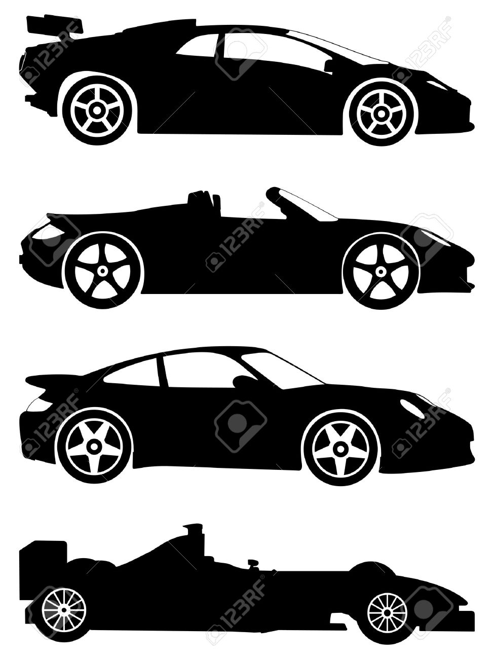 Silhouette A Sport Cars On A White Background Vector Illustration