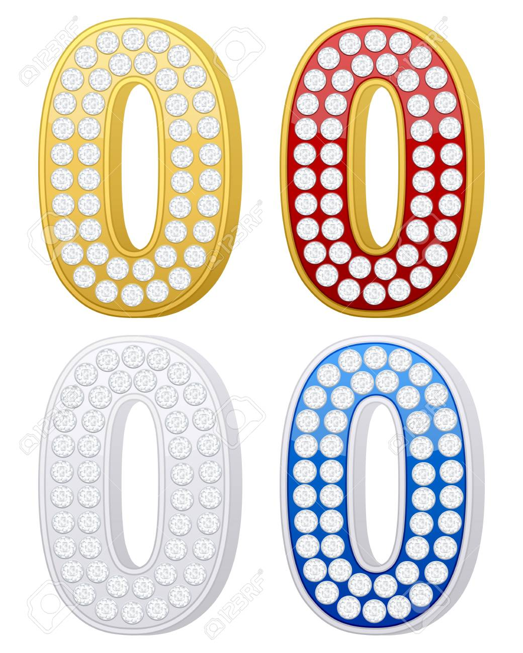jewelry number zero set on a white background. Vector illustration. Stock Vector - 9244139