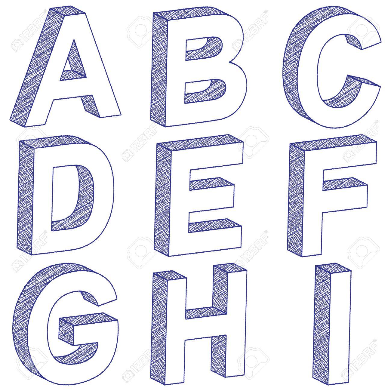 lettre en 3d 3D Scratch Lettres De A à I Sur Un Fond Blanc. Illustration. Clip  lettre en 3d