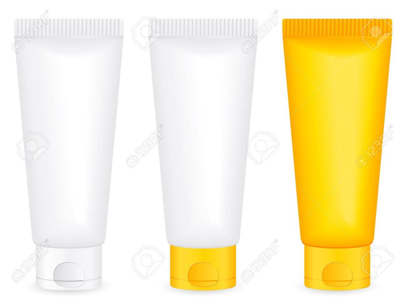 Lotion tube set on a white background.  illustration. Stock Vector - 9293055