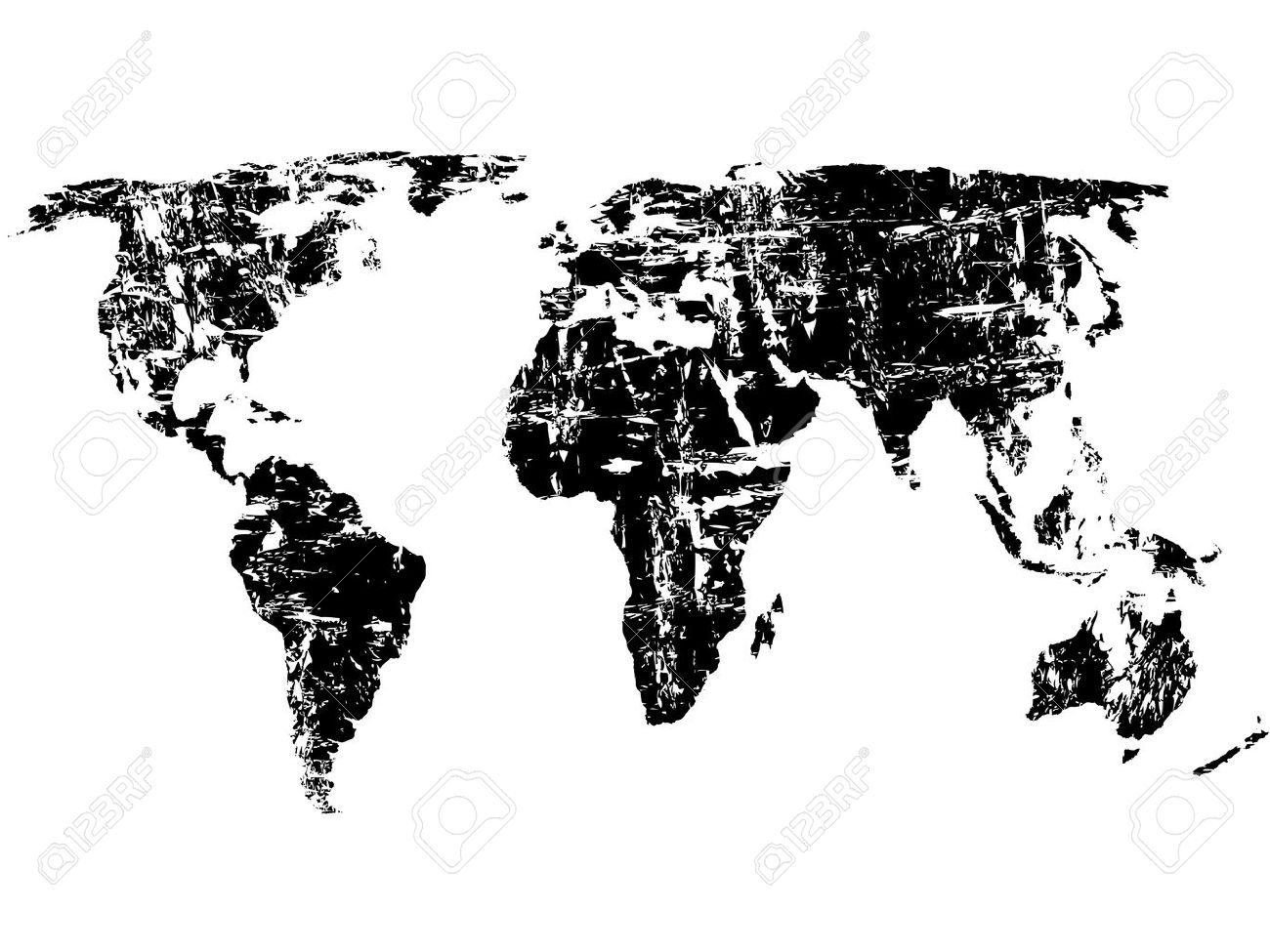 World Map Vector Black And White