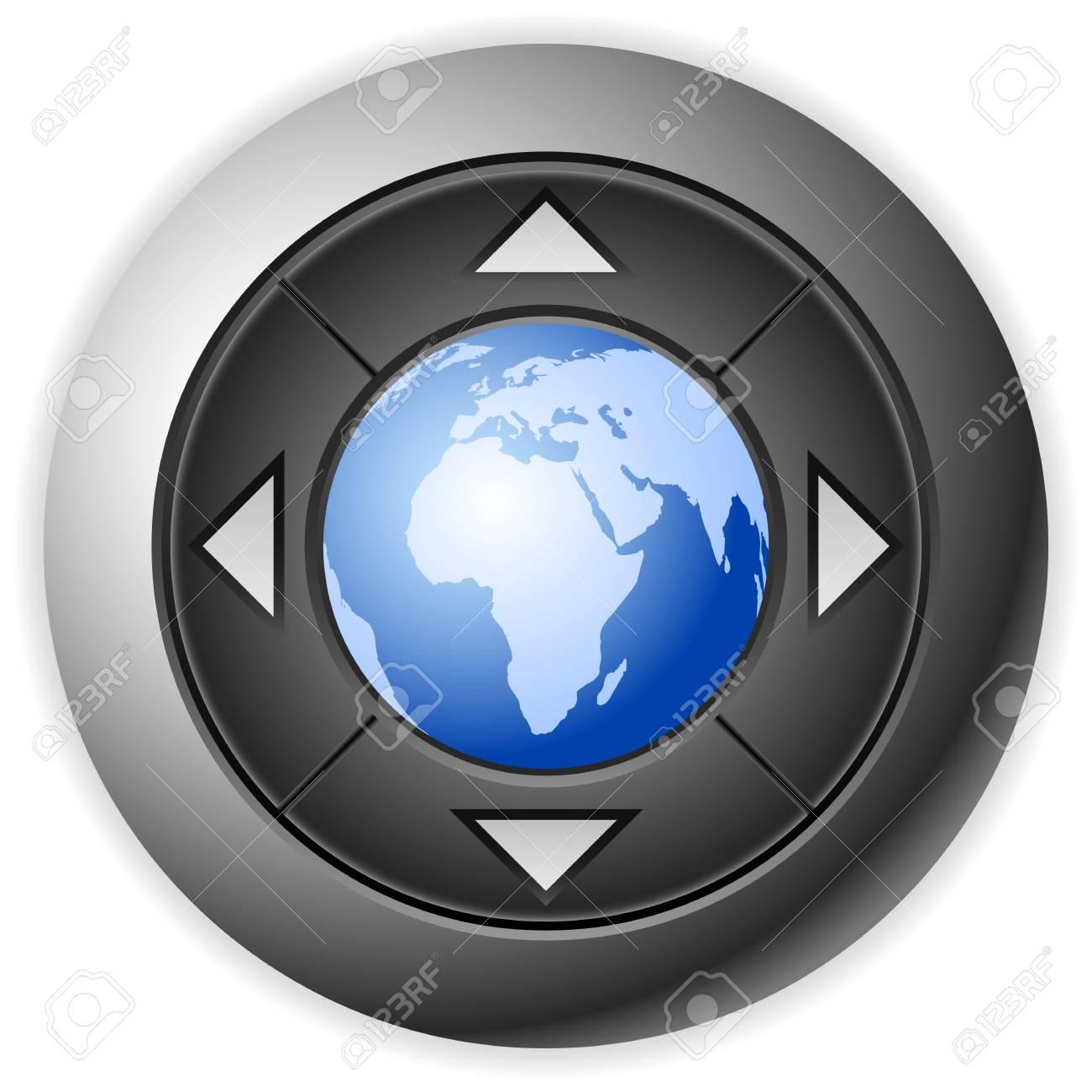 Modern multimedia button with globe. Vector illustration. Stock Vector - 9410376