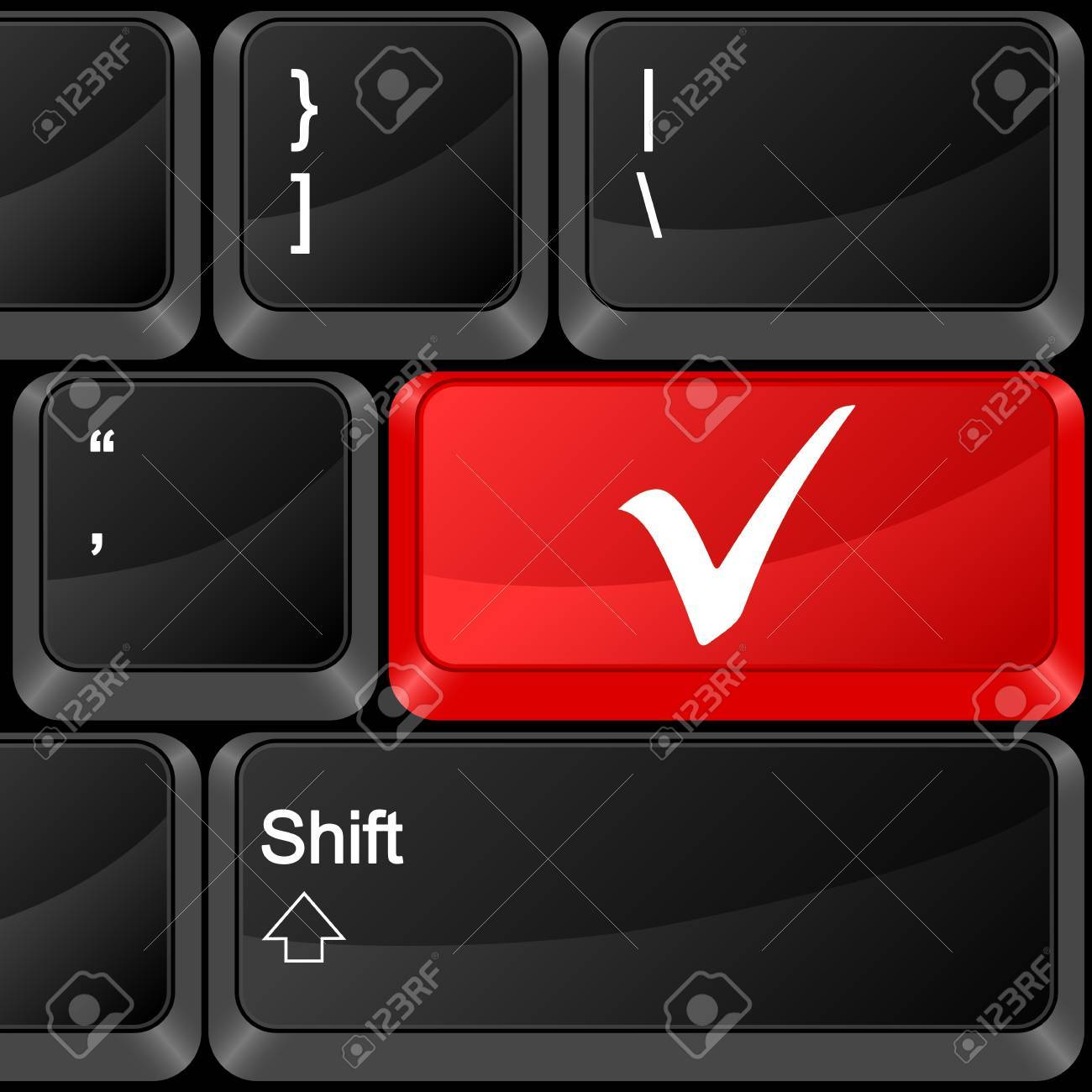 Keyboard computer button check symbol. Vector illustration. Stock Vector - 9637602