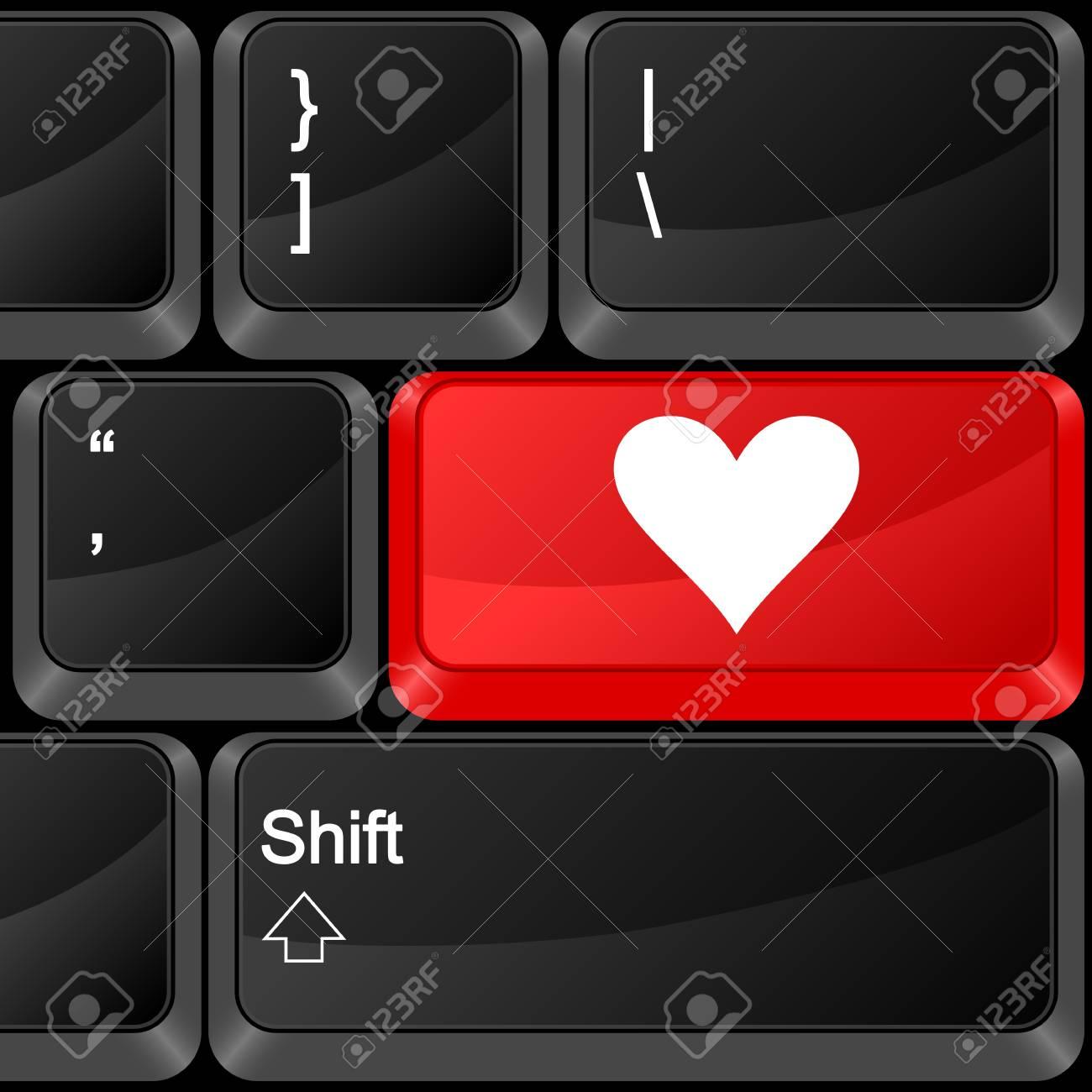 Keyboard computer button love. Vector illustration. Stock Vector - 9637601