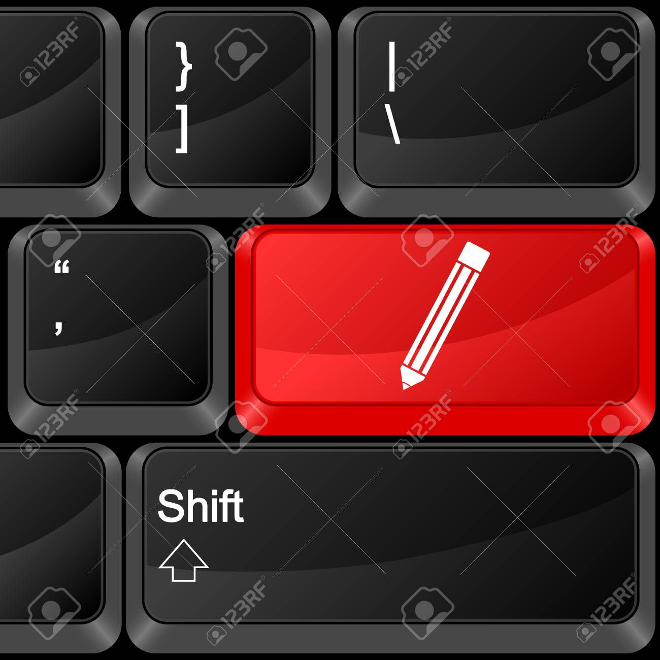 Keyboard computer button pen. Vector illustration. Stock Vector - 9637608