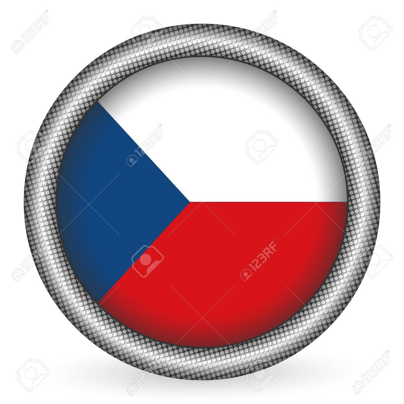 Czech Republic flag button Stock Vector - 10060602