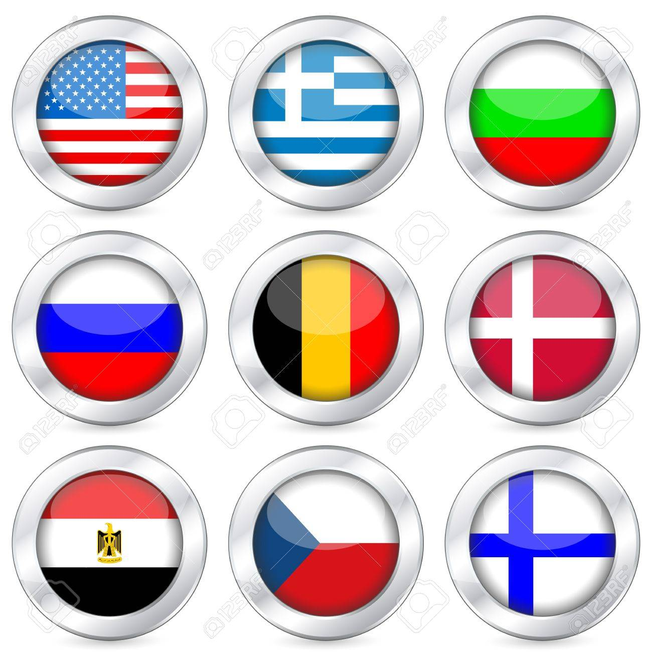 National flag button set on a white background. Vector illustration. Stock Vector - 10699372