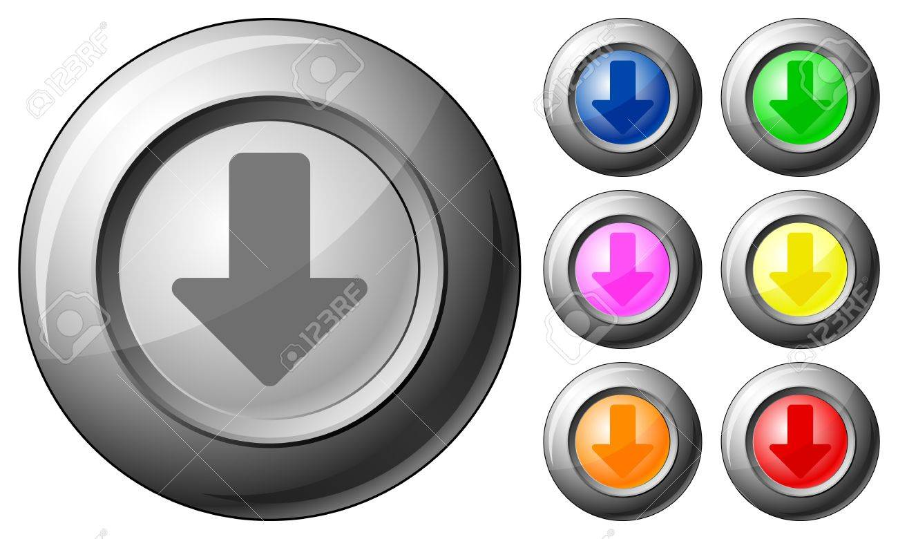 Sphere button arrow down set on a white background. Vector illustration. Stock Vector - 10767258
