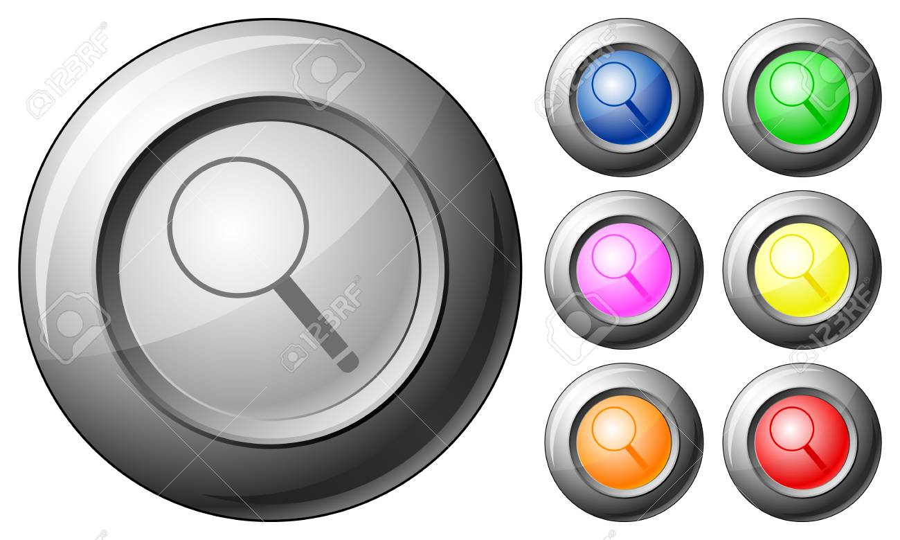 Sphere button magnifier set on a white background. Vector illustration. Stock Vector - 10767266
