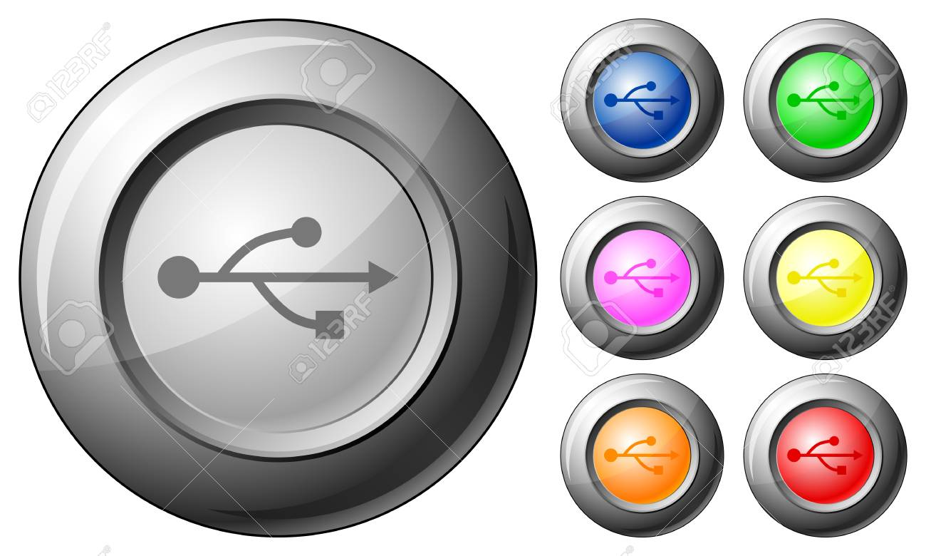 Sphere button USB set on a white background. Vector illustration. Stock Vector - 10767270