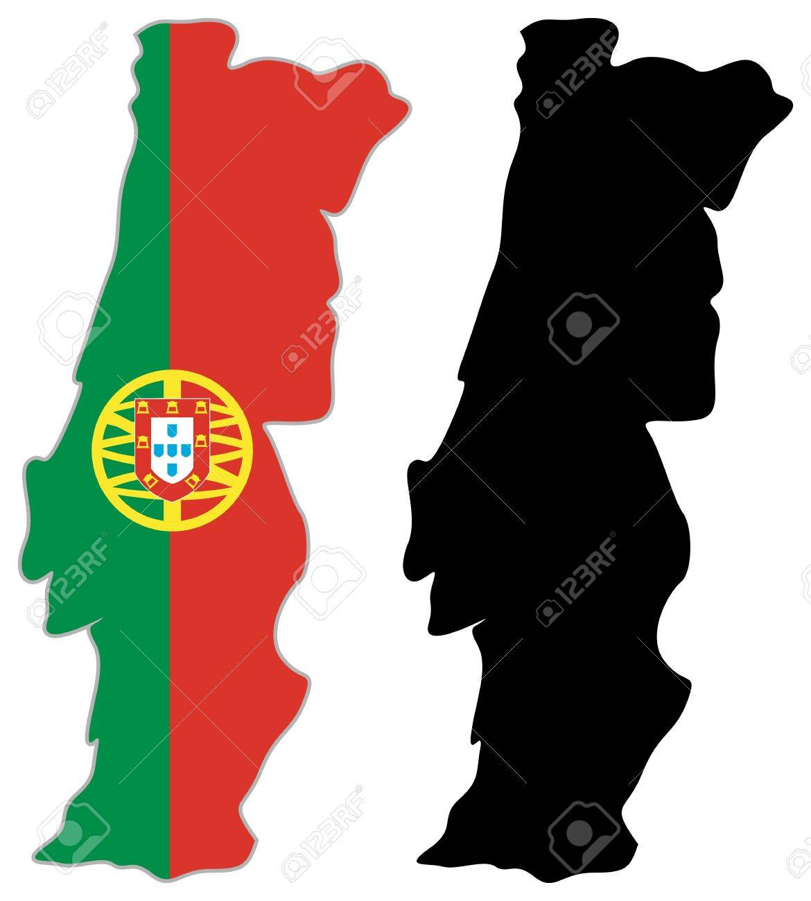 Portugal Map Flag On A White Background Vector Illustrator - Portugal map vector