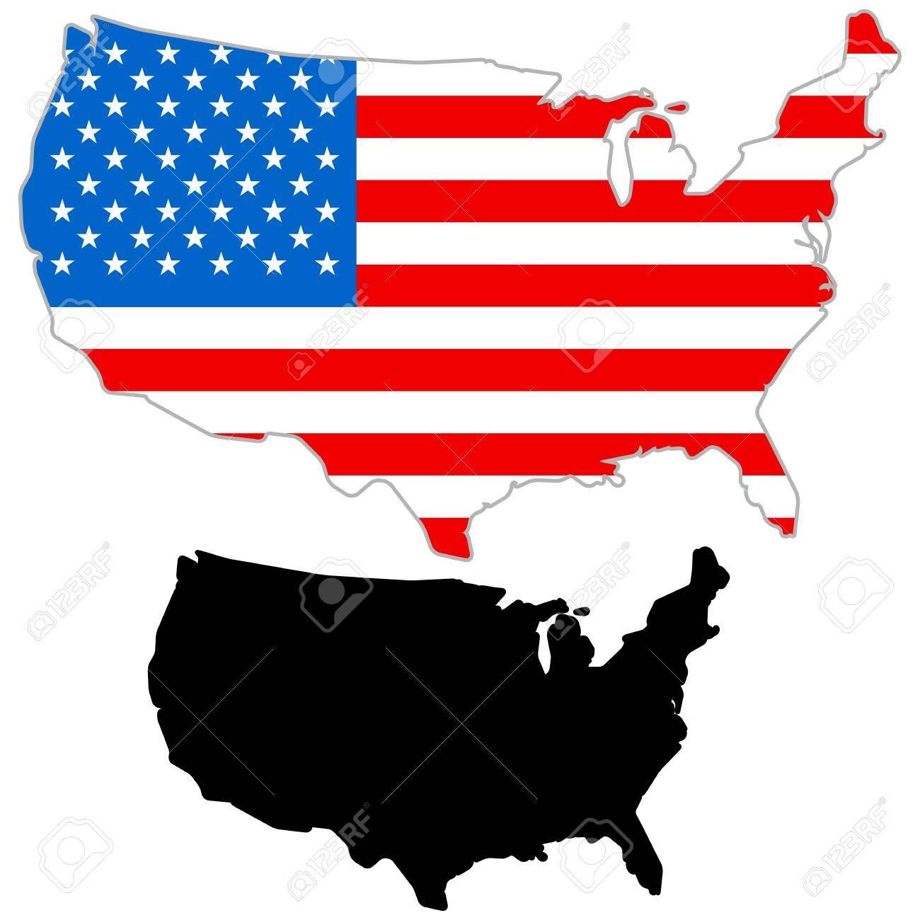 USA Map Flag On A White Background Vector Illustrator Royalty - Illustrator us map