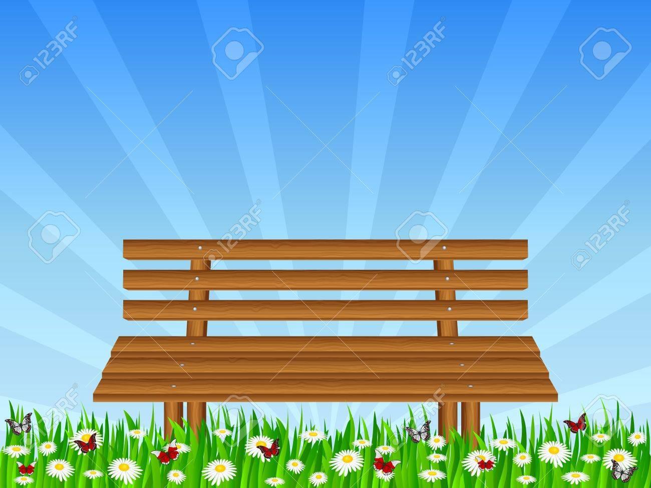 Wooden bench on park  Vector illustration Stock Vector - 12832159