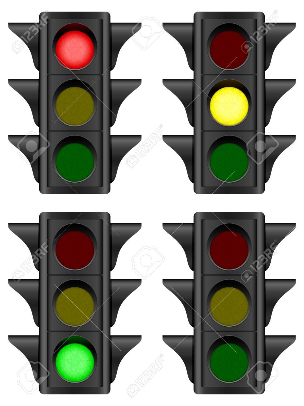 Traffic light set on a white background Vector illustration - 13023119