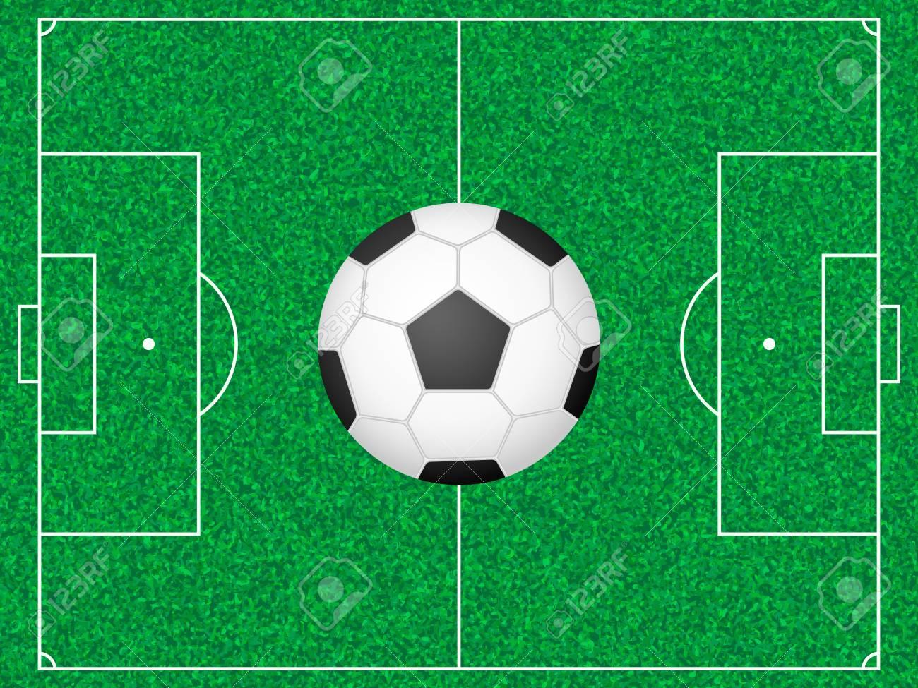 Green football field and ball illustration Stock Vector - 13618305