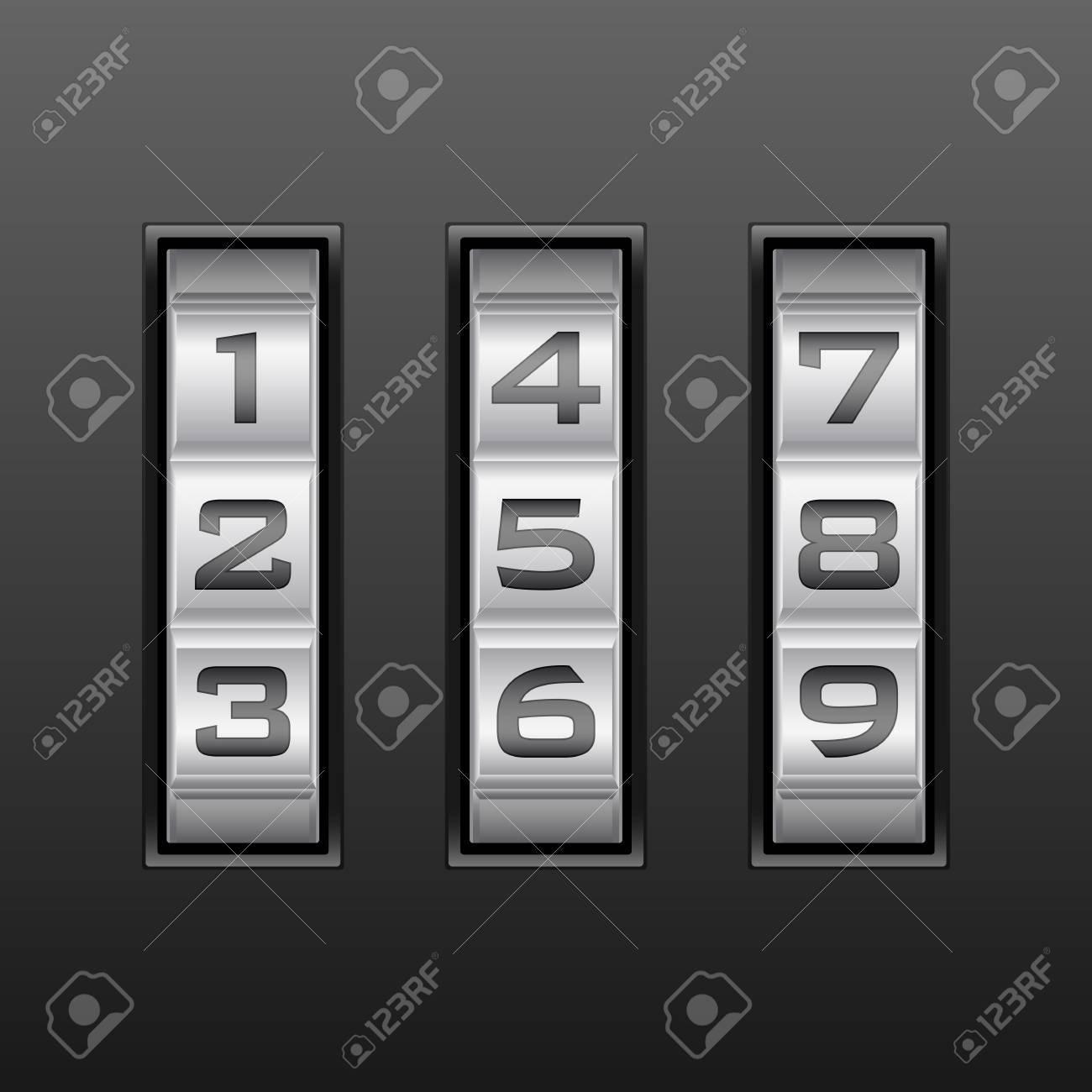 Metallic combination lock with three number  Vector illustration Stock Vector - 14006590