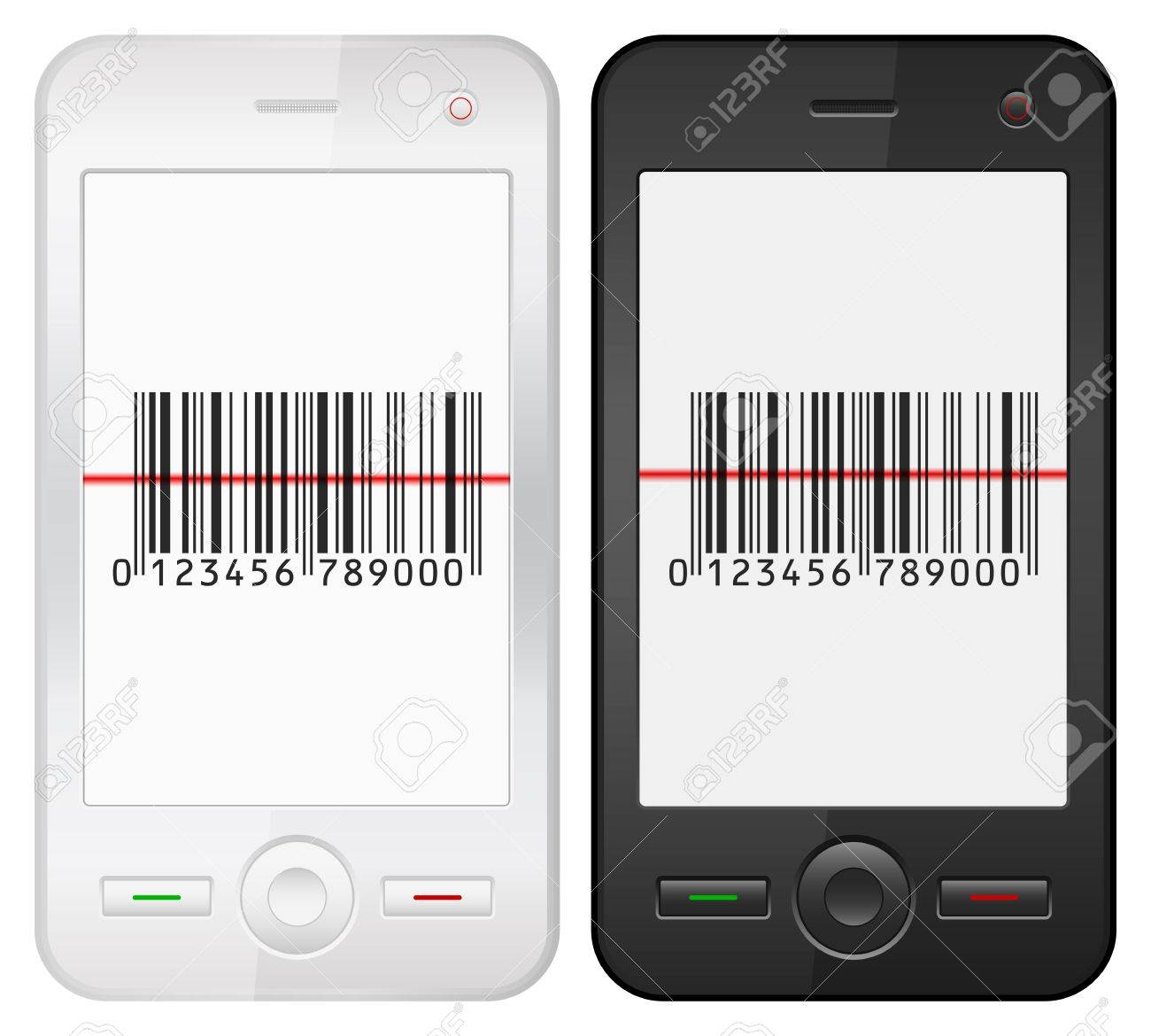 Mobile phone with barcode scanner on a white background