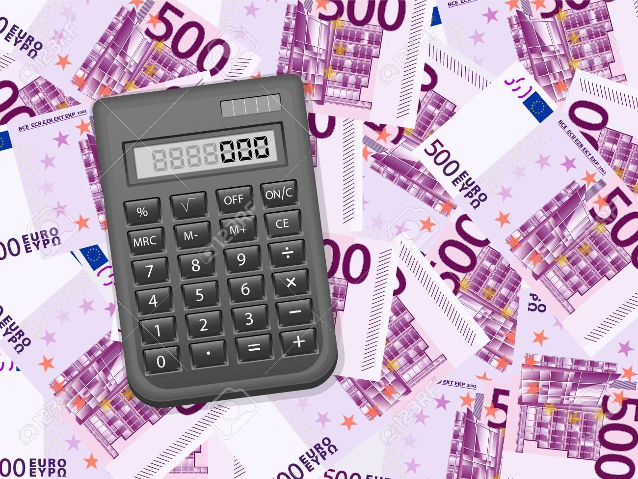 Calculator on a five hundred euros background. Vector illustration. Stock Vector - 21420700