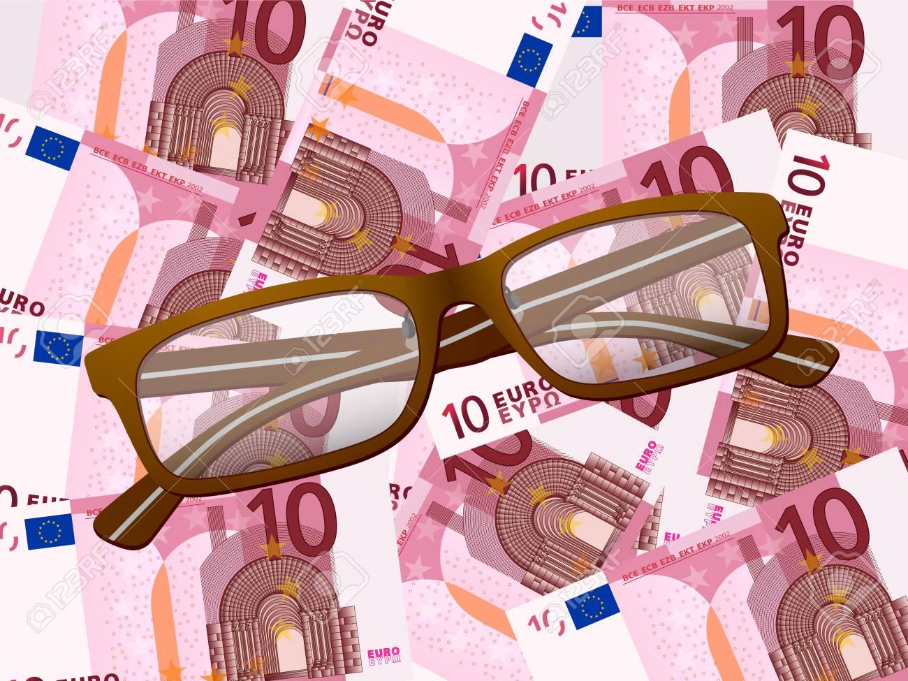Reading glasses on ten euros background. Vector illustration. Stock Vector - 23068295