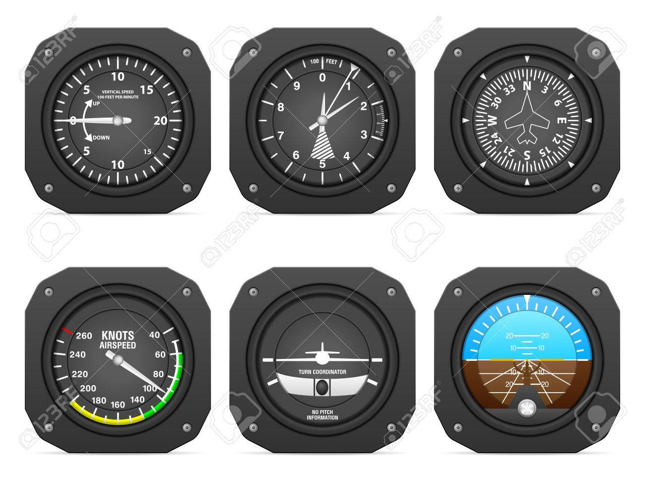Flight instruments on a white background. - 53683774