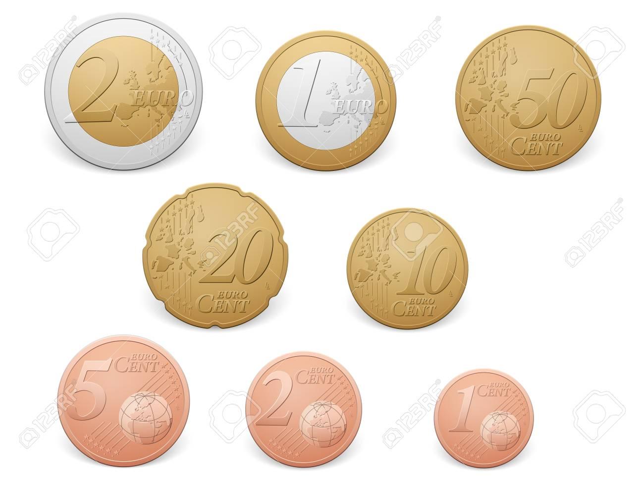 Euro coins set on a white background. - 56187184