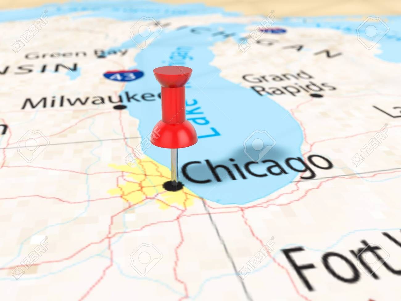 Pushpin On Chicago Map Background 3d Illustration Stock Photo
