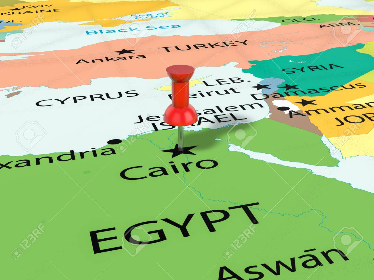 cairo mapa Pushpin On Cairo Map Background. 3d Illustration. Stock Photo  cairo mapa