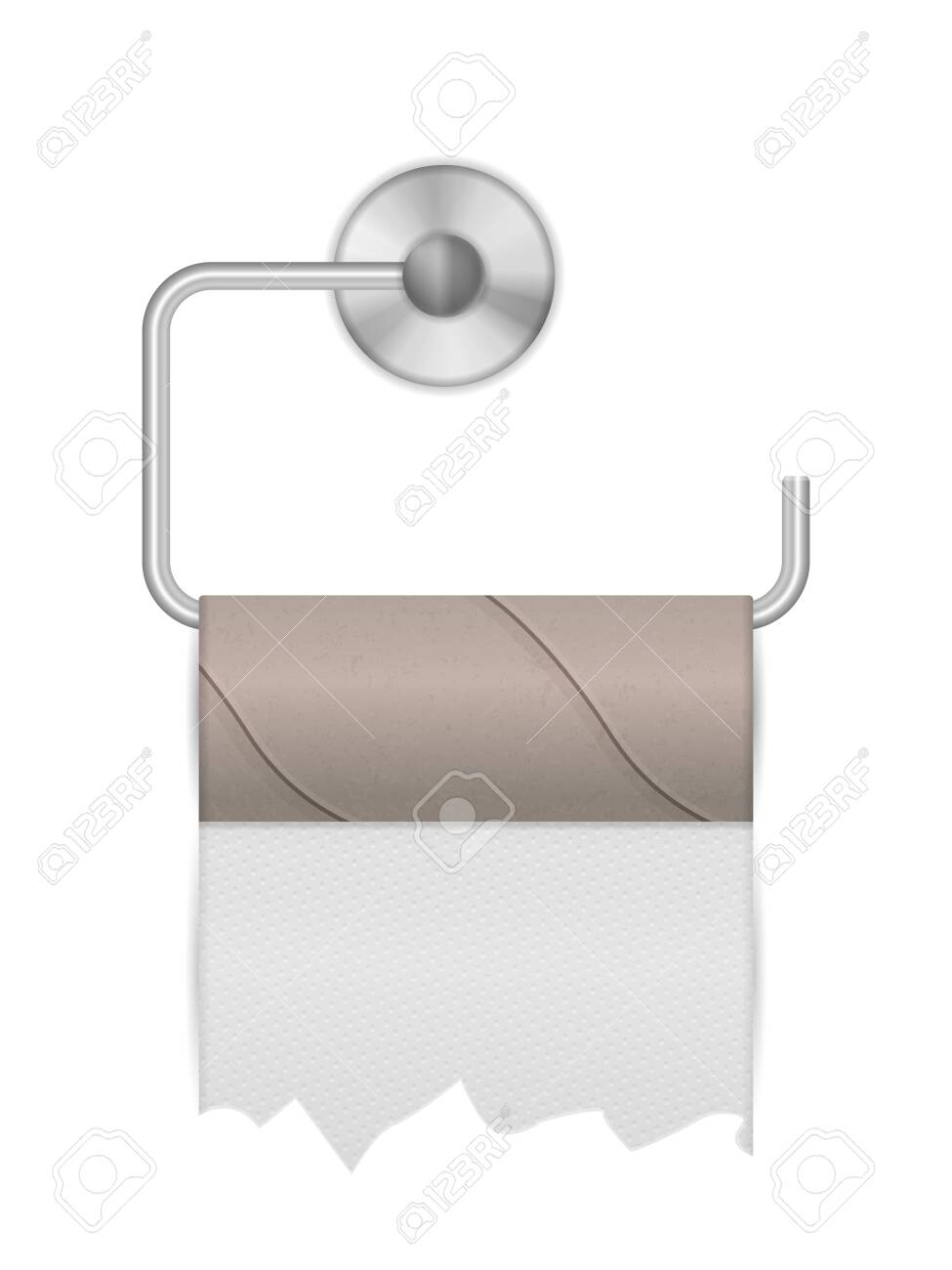 Empty toilet paper roll on a white background. Vector illustration. - 150217863