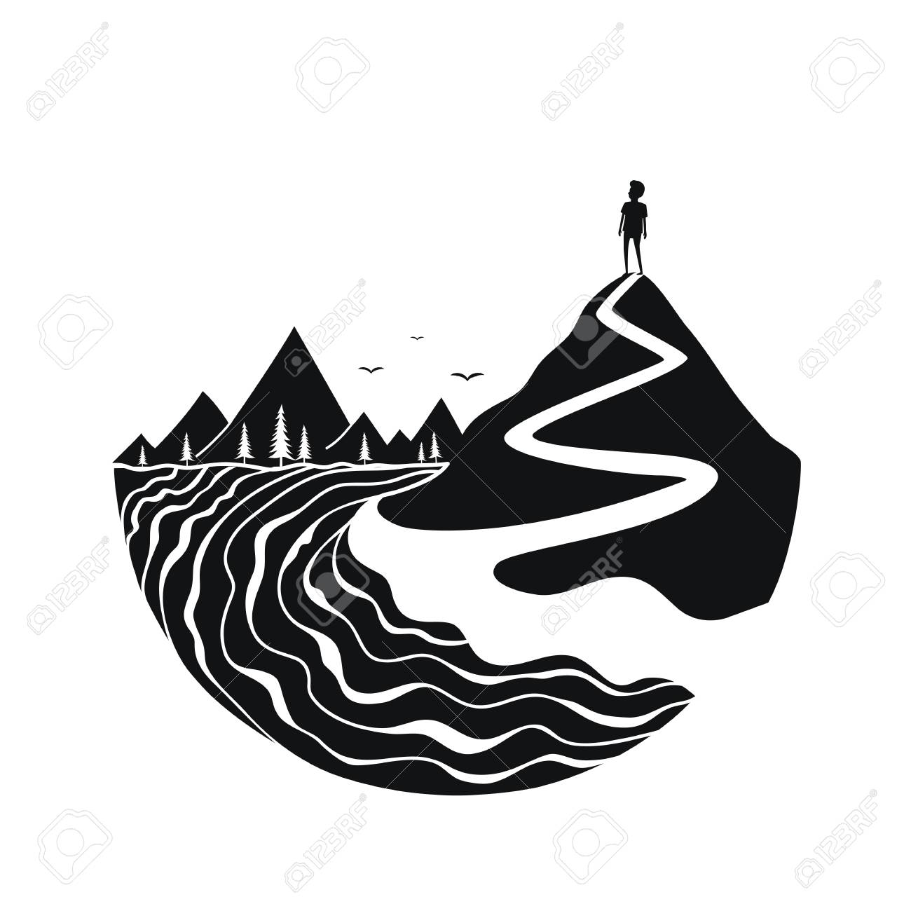 black and white print design with river birds mountains trail royalty free cliparts vectors and stock illustration image 122681728 black and white print design with river birds mountains trail