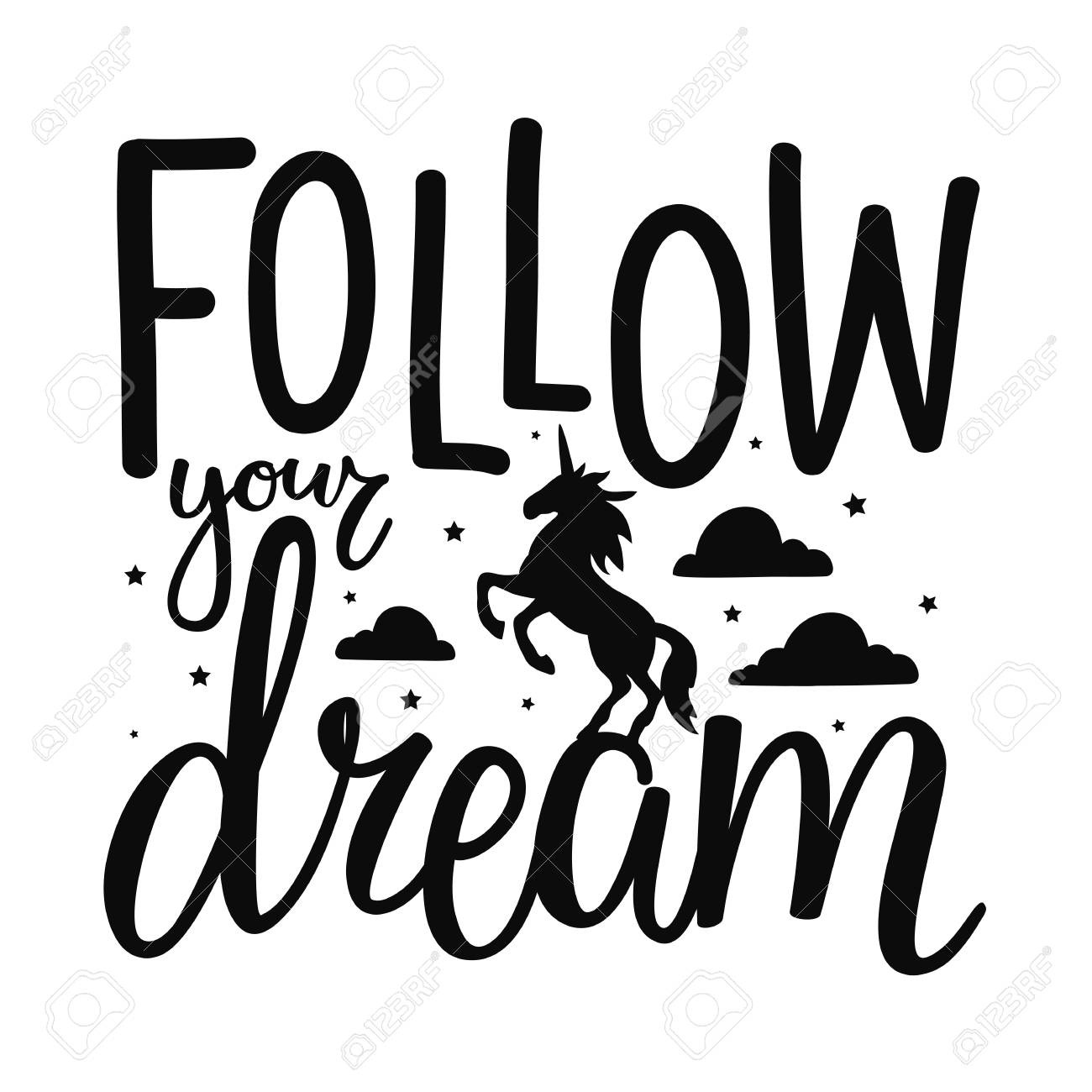 Follow Your Dream Lettering Poster Unicorn Stars And Clouds