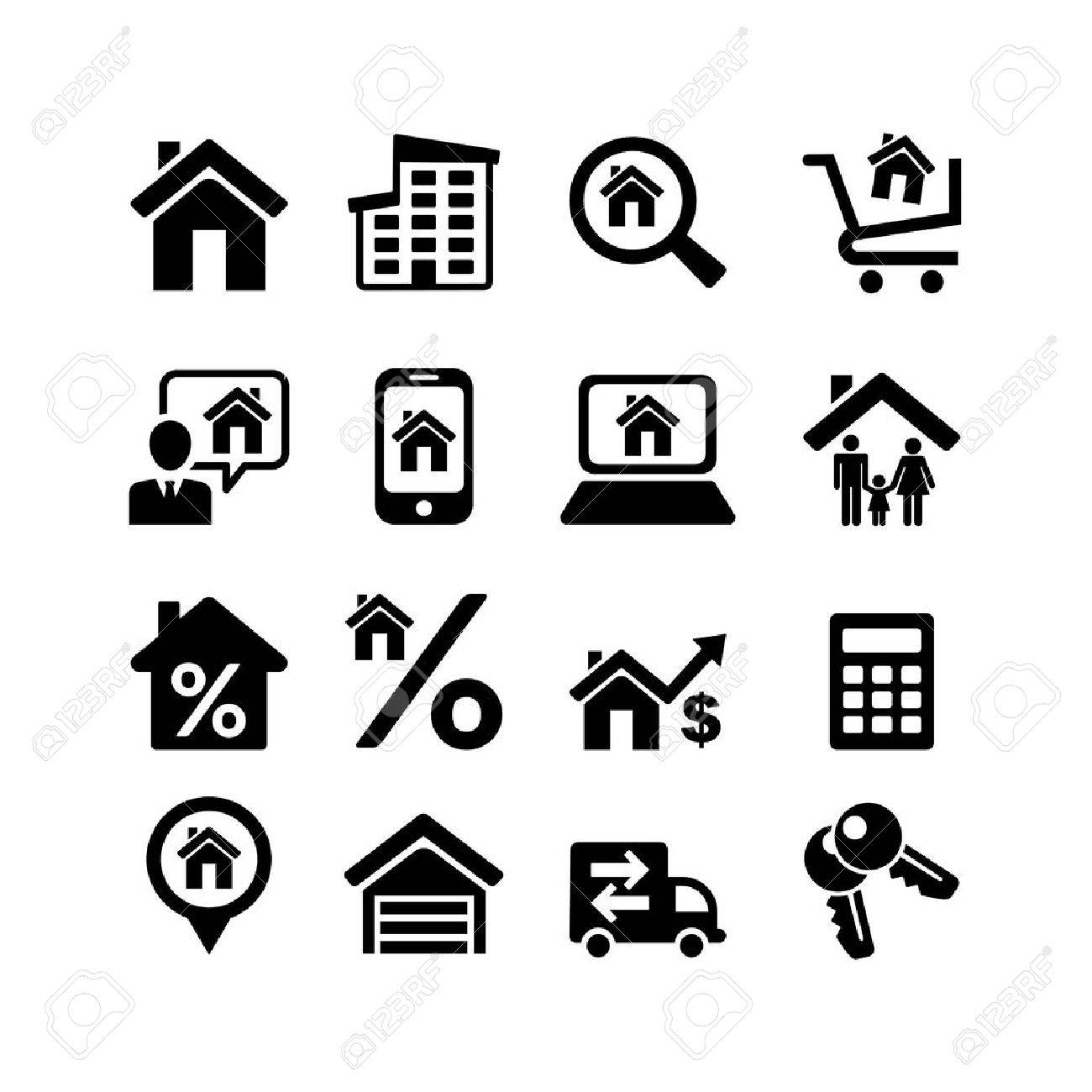 Set 16 web icons  Real Estate Stock Vector - 20307457