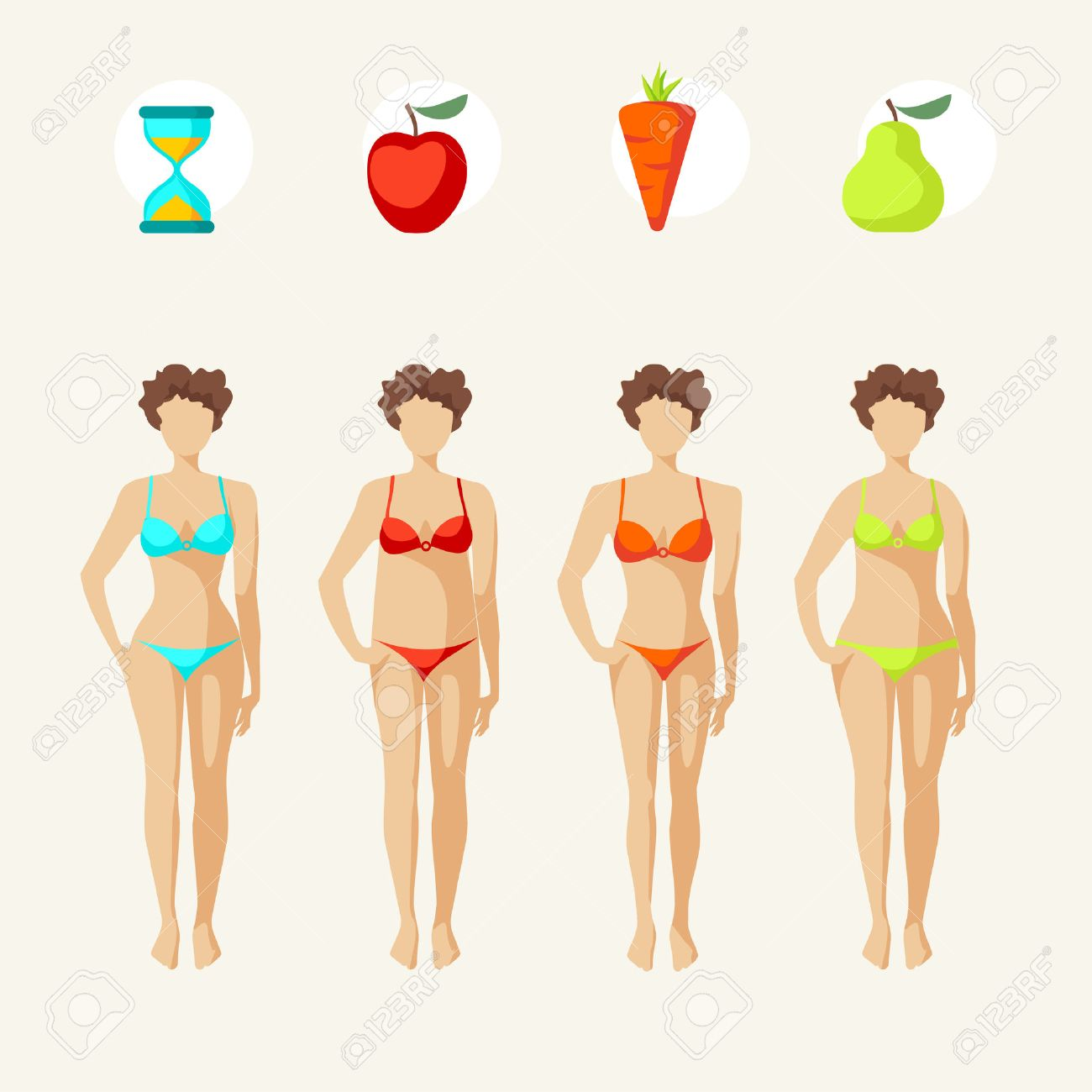 63b0123210 Female body shapes - four types Stock Vector - 30746500