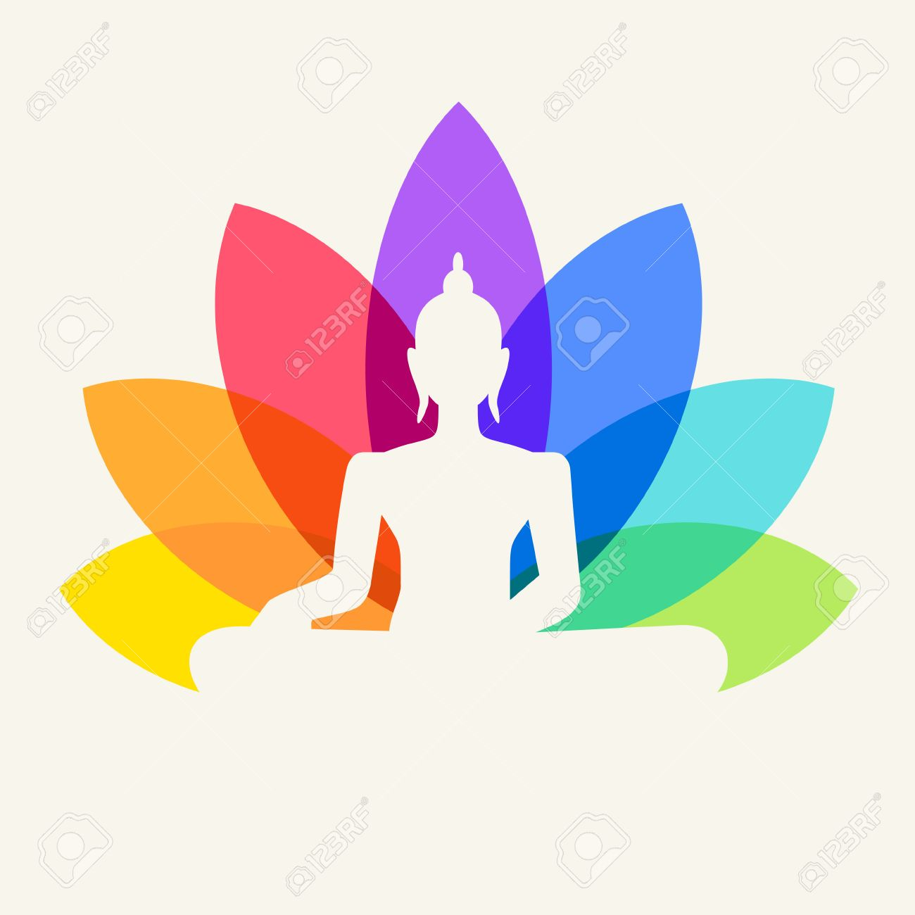 Silhouette of Buddha sitting on a lotus flower background - 32092675