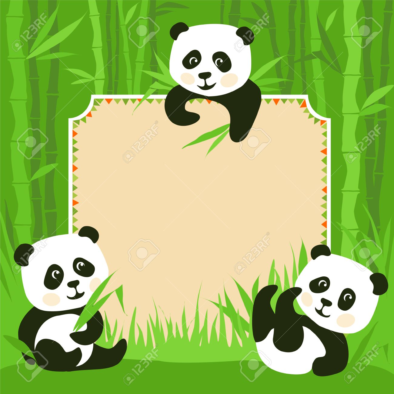 Cartoon Frame - Bamboo & Three Little Pandas Illustration Royalty ...