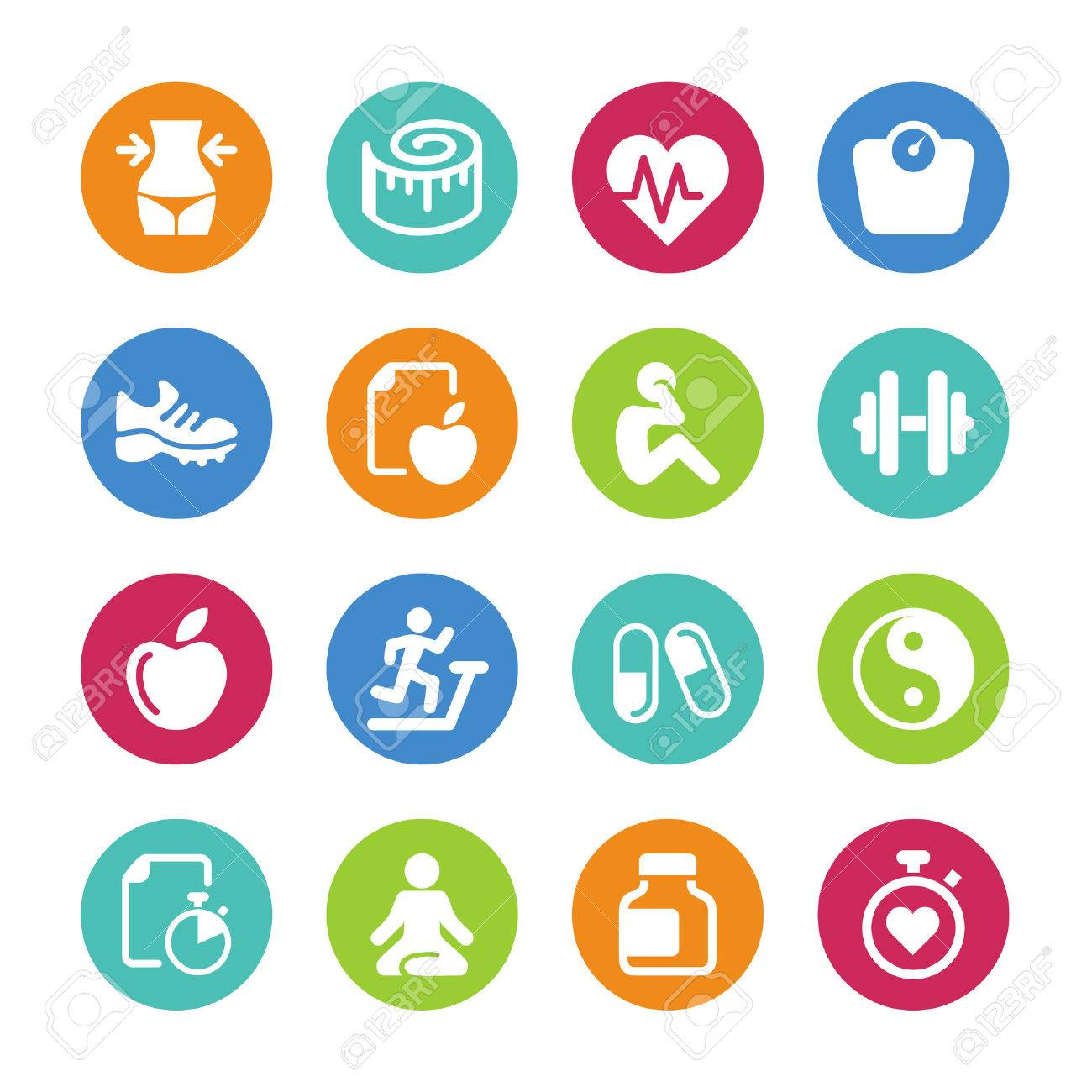 set 16 health and fitness icons royalty free cliparts vectors