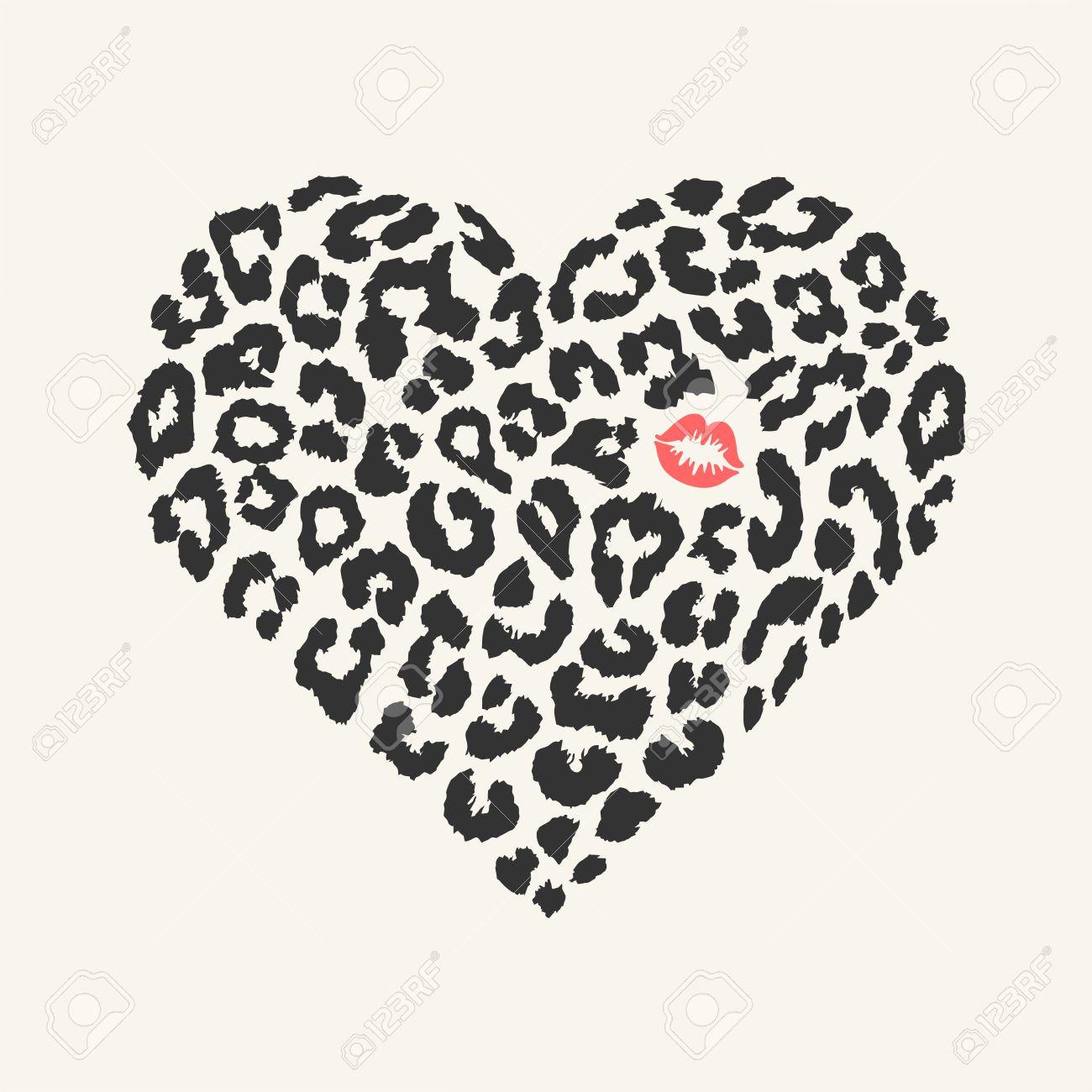 Vector heart shape - Leopard texture with kiss print - 35116903