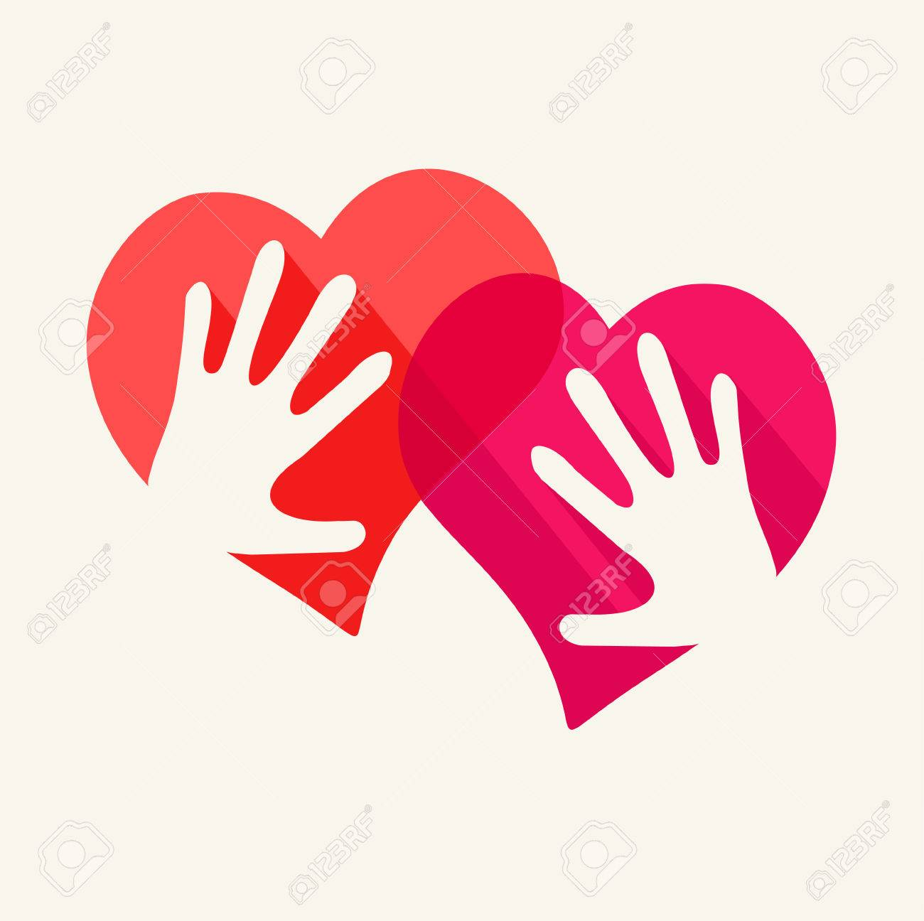 Two Hearts And Two Hands Symbol Of Love Royalty Free Cliparts