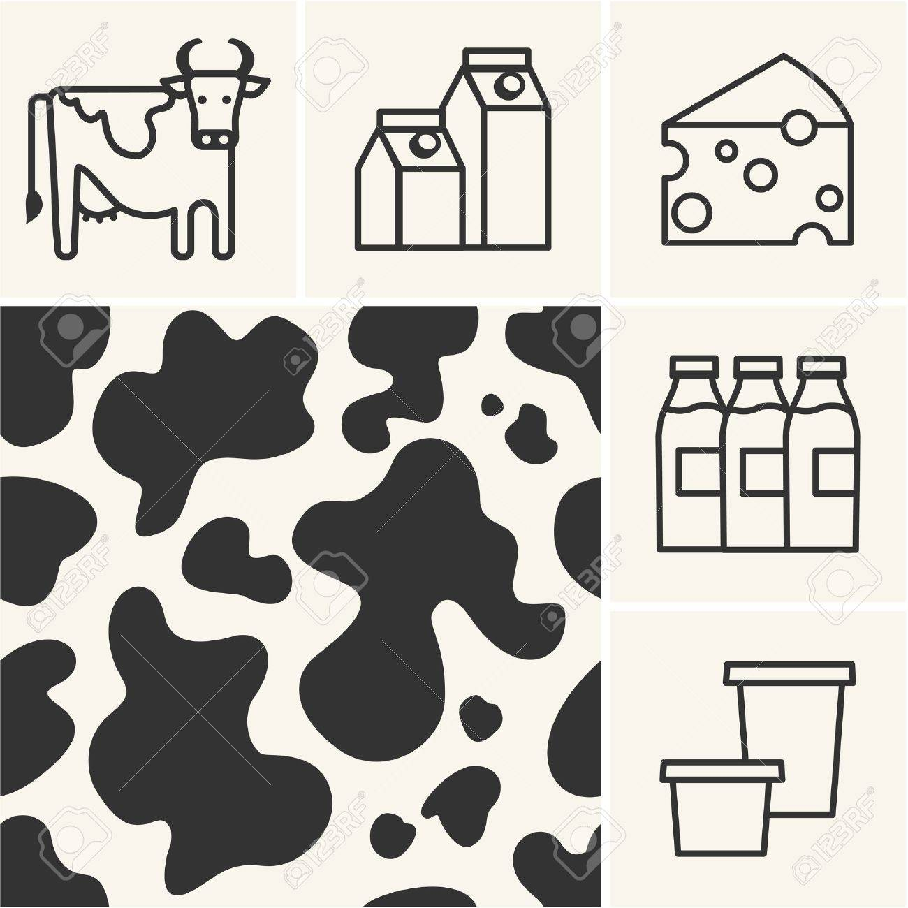 Web icons Dairy milk and cow skin seamless pattern. - 36623782